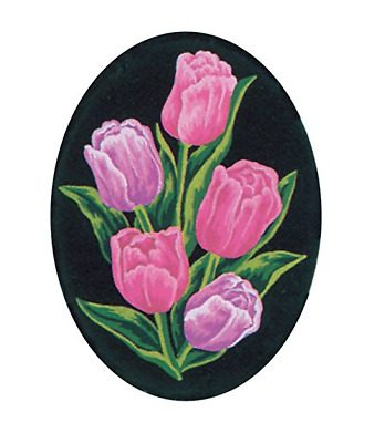 "Collection D'Art Printed Tapestry Canvas ""Tulips, Oval"""