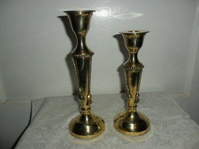 Pair of Solid Brass Candle Holders,  Rope Tie Tassel Design - India