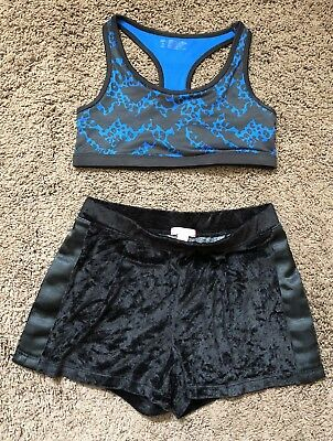 Girls Dance Gymnastic Outfit Shorts Top Justice Size Medium 8/10 32 Black cheer