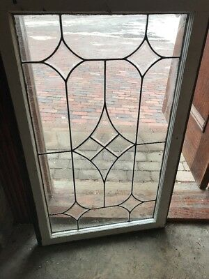 Sg 1872 Antique Leaded Beveled Glass Window 25x40.5
