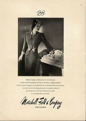 ADRIAN Fashion Ad Design Page 1944 Elegant Suit MARSHALL FIELD