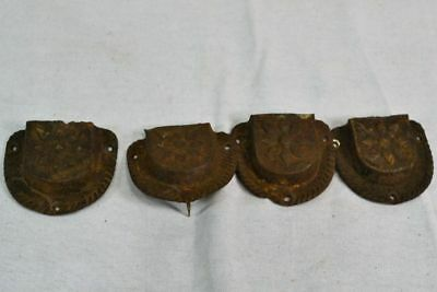 Antique Primitive Tin Drawer Pulls Lot Of 4