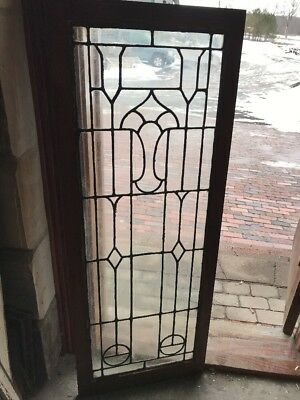 Sg 1875 Antique Leaded Glass Cabinet Door Or Landing Window 20.75 X 54