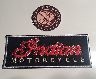 """NEW INDIAN MOTORCYCLES embroidered Badge Patch (4.5""""x 1.75"""") & Sticker"""