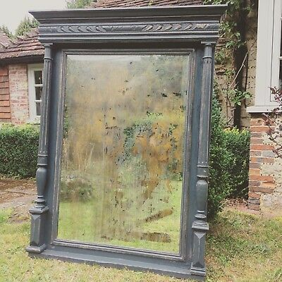 Vintage Antique French Overmantle Large Grey Distressed Mirror Glass Foxed