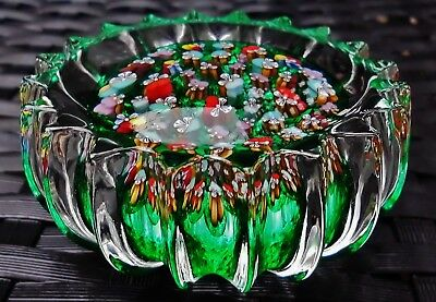 Perthshire John Deacons Pansy Flowers Millefiori Large Size Ribbed Paperweight