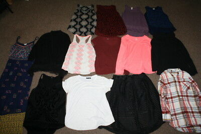 Lot of 14 Women's Clothes Sz L Shirts Dresses Skirt Large Target Merona Mossimo