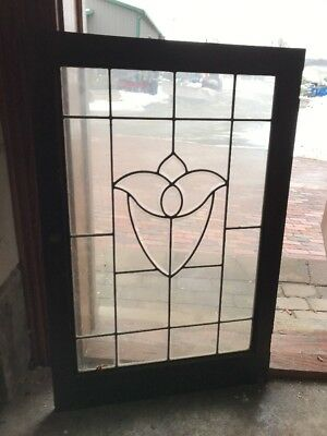 Sg 1881 Antique Beveled Glass Tulip Center Window 24 X 36 H