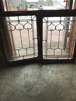 Sg 1882 Match Pair Antique Tulip Design Windows 22.25 X 29