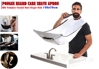 Pongee Beard Care Shave Apron Bib Trimmer Facial Hair Cape Sink 120x70cm