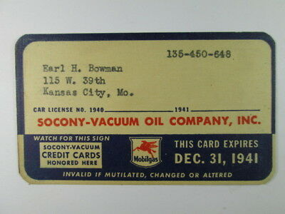 Socony-Vacuum Oil Company - 1941 Credit Charge Card