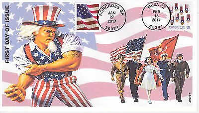 Jvc Cachets - 2017 Combo Flag & Uncle Sam's Hat First Day Cover Fdc  Style #2