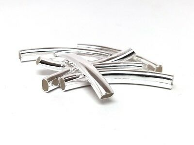 6 pcs Silver Plated Noodle Oval Tube Long Thin Smooth Curved Beads - 42mm x 6mm