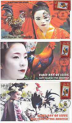 Jvc Cachets - 2017 Lunar Year Of The Rooster First Day Cover Fdc Set Of 3 Design