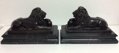 MAGNIFICENT PAIR of BRONZE SCULPTED LIONS mounted on SOLID MARBLE - RARE!!