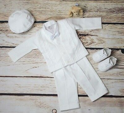 Baby Boys White Smart Wedding Outfit Cardigan Shirt Bow Hat Christening Pageboy
