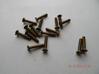 "BRASS FLAT HEAD SLOTTED MACHINE SCREW 10/24 x 1"" 23 PCS. NEW-NOS SOME TARNISH"