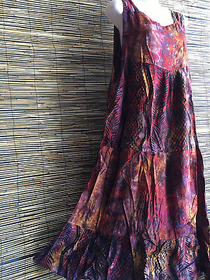Lot of 6 good quality rayon batik print sundresses.Will fit many sizes.Colors.