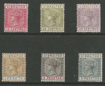 Gibraltar 1889-96 Victorian Selection Of 6 To 5 Pesetas Mounted Mint Cat £83+