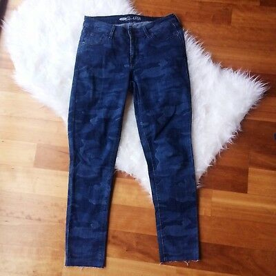 Old Navy Womens Sz 8 Blue Camo Print Raw Edge Cropped Ankle Skinny Jeans