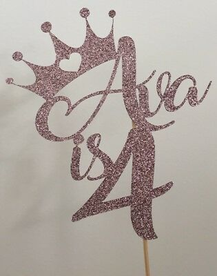 Personalised Princess Crown Cake Topper Birthday Add Your Name And Age
