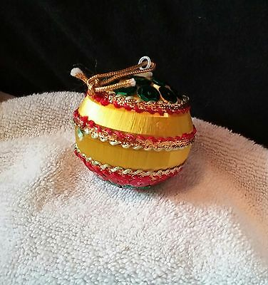 Vintage GOLD Satin Sequin Beaded  Christmas Ornament BALL Collectible Giftable