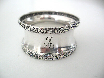 "Ornate sterling silver napkin ring engraved initial ""J"""