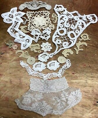 Assorted #504 ANTIQUE LOT Handmade LACE CROCHET Ribbon Embroidery Tatting 23pcs