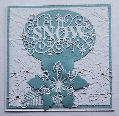 Handmade - CHRISTMAS CARD - Let it Snow - Poinsettia - Rhinestones - Embossing