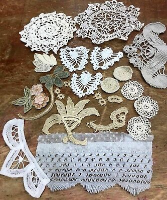 Assorted #505 ANTIQUE LOT Handmade LACE CROCHET Ribbon Embroidery Tatting 24pcs