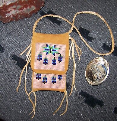Traditional Beaded Medicine Bag Blue Jay Feather Shields