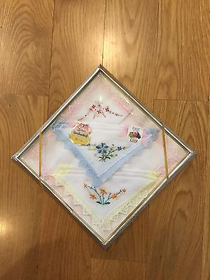 Vintage Fruit Of The Loom Women's Handkerchiefs Box Of 3 Edged With Lace
