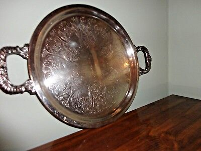 Vintage Silver On Copper Heavy Round Serving Tray With Handle 13