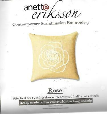 Anette Eriksson  Rose Scandinavian embroidery kit cushion 50x50cm 12ct hessian