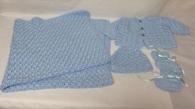 Crocheted Newborn Blanket Sweater Hat And Booties In Blue