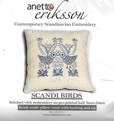 Anette Eriksson Scandi birds Scandinavian embroidery kit cushion 40x40cm linen