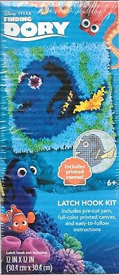 """FInding Dory latch hook kit 12""""x12"""" printed canvas easy to follow instructions"""