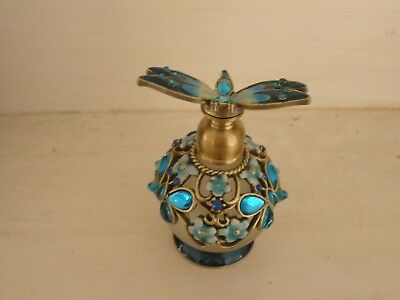 Bejewelled & Enamelled Dragonfly Lid Perfume Bottle - Turquoise - Cristiana