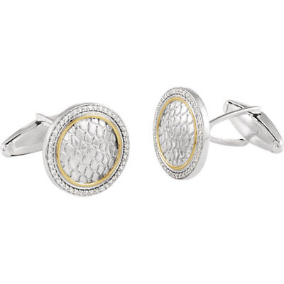 Diamond Snake Print Cuff Links In Sterling Silver & 14K Yellow Gold (1/2ctw)