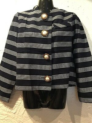 Mint Designer Vintage Arc Blue Striped Crop Striped Suit Jacket Blazer