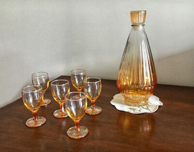 Deco style, vintage carnival glass decanter set complete with 6 glasses.
