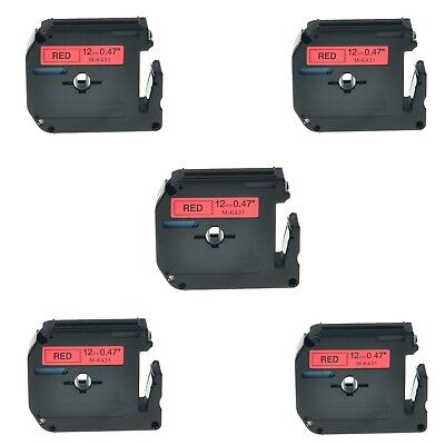 """US STOCK 5PK MK431 M-K431 Black on Red Label Tape for Brother P-Touch 1/2"""" 12mm"""