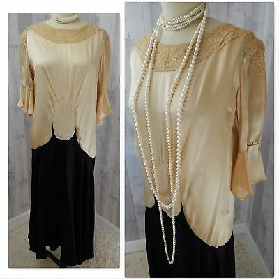 1920s-True Antique FLAPPER DRESS~Ivory/Black Silk Satin Vintage RARE COND! S/M