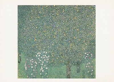 GARDEN ART PRINT POSTCARD Gustave Klimt : Roses under the Trees