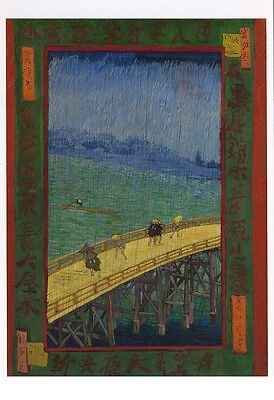 VINCENT VAN GOGH MUSEUM ART PRINT POSTCARD Japanese Bridge in the Rain