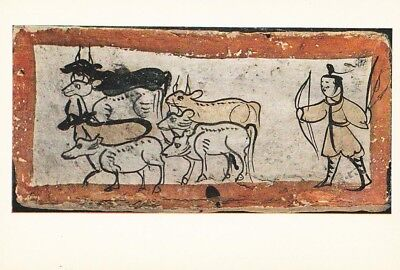 ANCIENT CHINESE ART PRINT POSTCARD Tomb Brick showing Cattle Tending