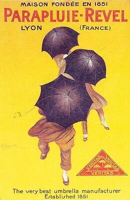 1920s VINTAGE ADVERTISING POSTER REPRODUCTION POSTCARD: PARAPLUIE-REVEL