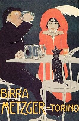 1920s VINTAGE ADVERTISING POSTER REPRODUCTION POSTCARD BIRRA METZGER-TORINO BEER