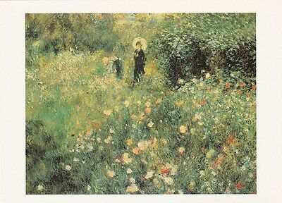 GARDEN ART PRINT POSTCARD Auguste Renoir : Woman with a Parasol in the Garden