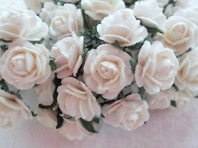 100! Cute Handmade Mulberry Paper Roses - 10mm - Beautiful White Rose Topper!